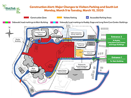 Permanent closure of main visitors lot and opening of new visitors lot