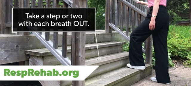 woman with COPD walking up stairs